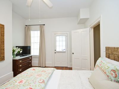 """Delight"" - Bedroom 1 - Queen Bed - Door leads to Covered Balcony"