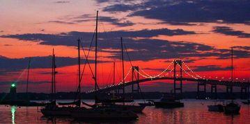 Newport condo rental - View of the gorgeous harbor and lights of the Newport Bridge!
