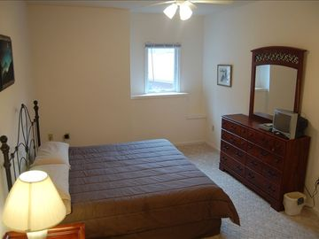 Downstairs King Master Suite with TV and DVD and attached private bathroom
