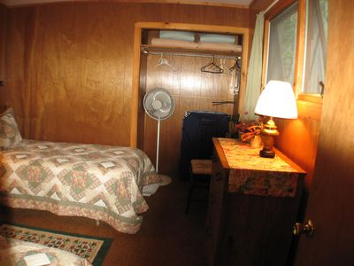 Glen Arbor cottage rental - twin BR upstairs. Walk thru this room to full BR