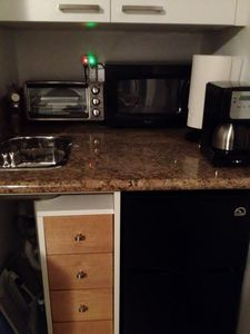 Kitchenette; drawers with silverware, kitchen utensils, Kitchen towels, etc..