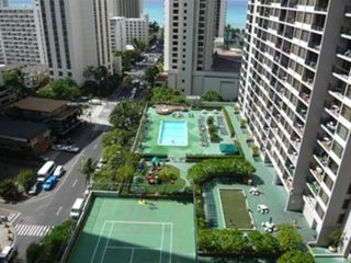 Waikiki condo photo - Recreation Deck with pool, hottub, tennis court, Jungle gym. Beach 2 blocks away