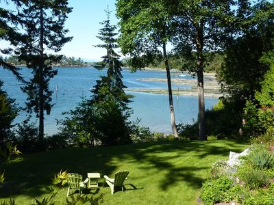 View of our lawn & Winter Cove from Saturna Seaside deck.