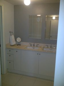 double vanity and towels provided