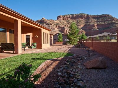 Patio with stunning view of the surrounding red rock formations.