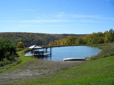 Private 3/4 acre swimming pond on the hill with sandy Beach