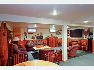 New Buffalo house photo - Downstairs room with surround sound, HD TV, and pull-out sofa