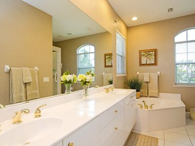 Master Bath with Double Sink Vanity, Large Soaking Tub and Walk in Shower