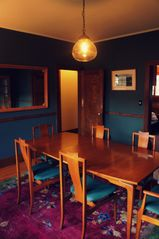 Phoenicia house photo - The dining room with mid-century table and chairs