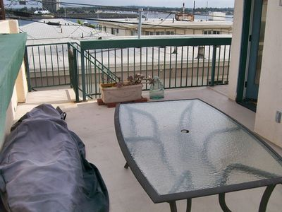 The back patio/deck - yes that is a kayak for your use