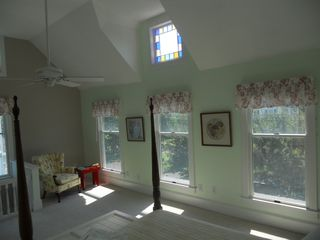 Cape Charles house photo - Sunny and open second master bedroom with stained glass window