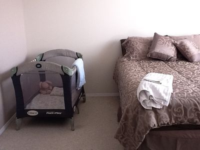 Travel cot can be added to bedroom easily. High Chair also available.