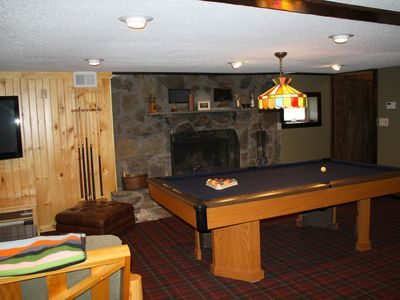 The lower level game room complete with 8' pool table.