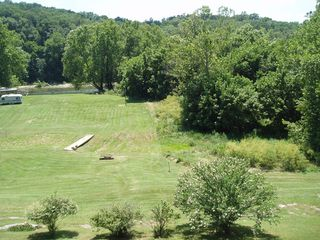 Luray chalet photo - Property from deck, 320' to river, walk or drive