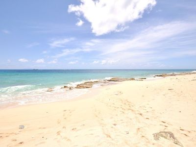 private access to the sandy beach on the Caribbean sea
