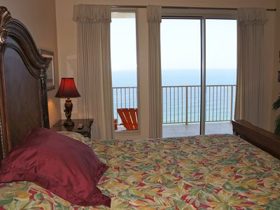 Master Bedroom with king size bed and balcony access and gulf view.