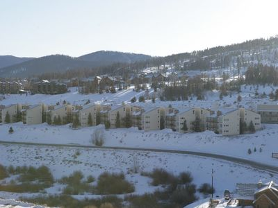 A view of the Mountainside condo's as you come down the hill by the ski area