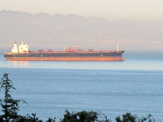 Tiburon house photo - Commercial ships passing by....