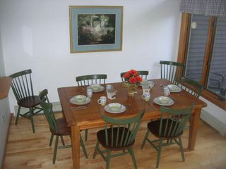 North Conway townhome photo - dining room seating for 10 (with 2 additional table leafs and chairs not shown)