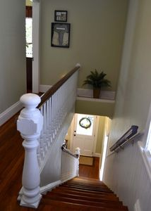 Stairway from front entry to bedrooms