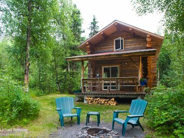 Cooper Landing cabin rental - Alaska Rivers Company River View Cabin - Fire pit at back of cabin