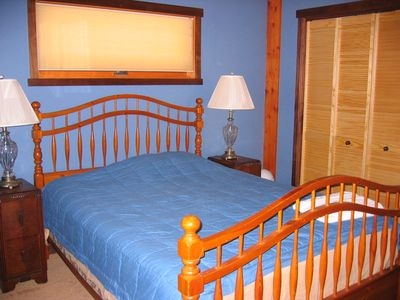 The blue BR on the first floor with queen bed.