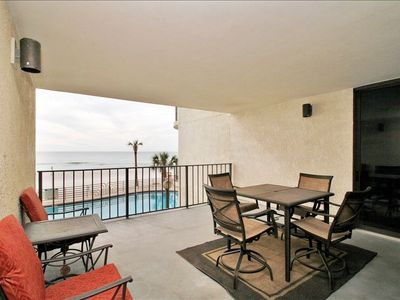 Large balcony overlooking the pool and the Gulf of Mexico