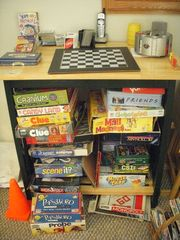 Gameroom has poker chips, games and cards for all ages - Towamensing Trails chalet vacation rental photo
