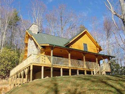 Image Staying in Beautiful Log Cabin on 6 Acre Private Lot with Decks All Around