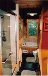 One of two Full Bathrooms with Jetted Tub and Euro Shower