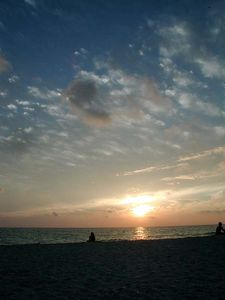 Sunset at Nokomis Beach, with our famous drum circles on Weds. and Sat. nights