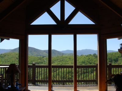 Awesome mountain view from the sofa in the great room