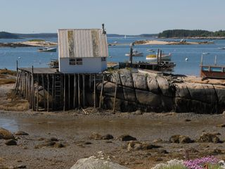 Deer Isle - Stonington house photo - Lobster shack from house beach at low tide