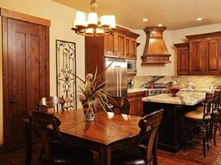 The Canyons townhome photo - Kitchen and Dining. Viking appliances and granite tops. Dining table expands.