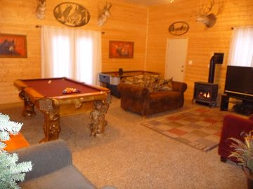 Main Family Room/Game Area: Pool Table, Air hockey, HD TV,