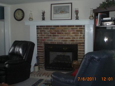 Fancy Gap cabin rental - Sit by the fire while you watch satellite TV or surf the web.