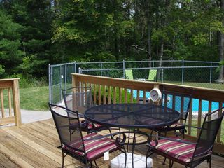 Mashpee house photo - Private yard with 2 decks and pool
