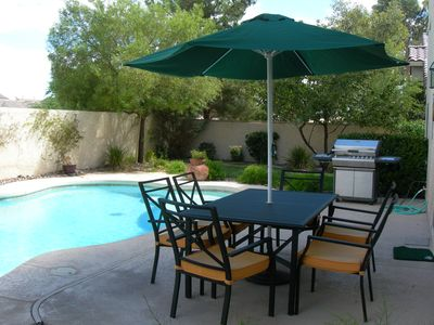 Las Vegas house rental - Inviting Backyard with Pool & Spa