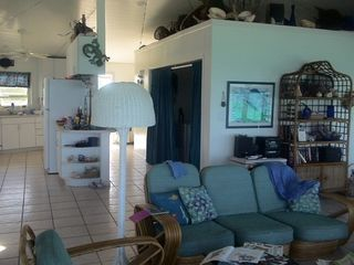 Elbow Cay and Hope Town villa photo - A second fridge & washer/dryer located behind blue curtain