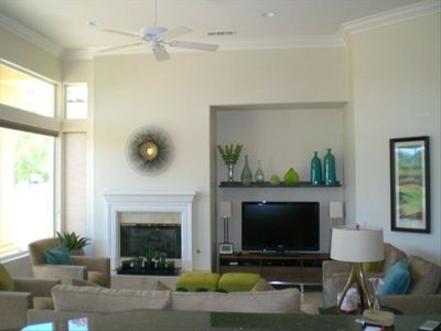 OUR WIDE OPEN FAMILY ROOM W/PLASMA - FIREPLACE & VIEWS FOREVER !!!