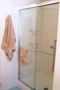 Spacious shower.