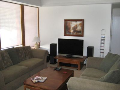 Main Living Area: Reverse shot of living room - 42' LCD TV + Stereo/CD/DVD