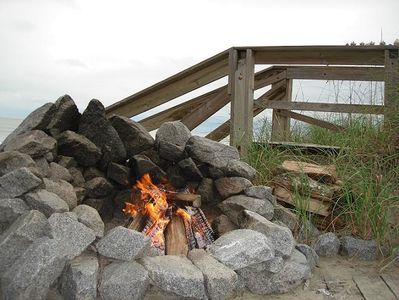 Fire Pit at the ocean's edge next to the Tiki Hut