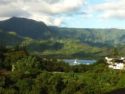 Beautiful View of Hanalei Bay from condo and lg lanai, Mountains and Waterfall