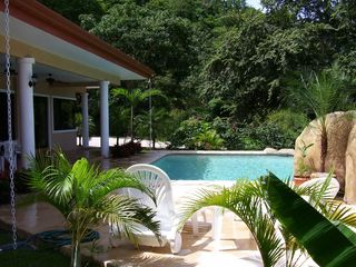 Playa Hermosa house photo - Side view of our private patio and pool. Secluded, quiet and close to the beach