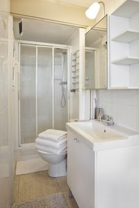 "The ""galley"" style bathroom with independent heating."