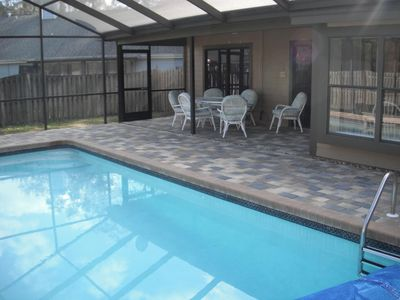 Heated pool 28x14ft; 6x 3ft deep; large patio, 2 loungers, table, chairs, grill.