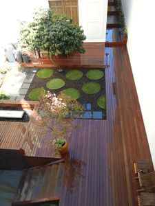 Serene Courtyard with eating and BBQ area