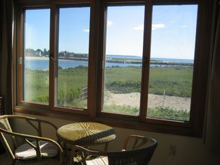 Wells townhome photo - Queen bedroom cafe table view to Drakes Island and Kennebunkport
