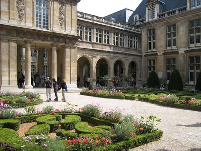The Carnavalet mansion and museum is a 2 minute walk from the apartment